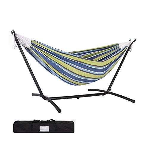 Prime Garden Double Hammock with Steel Stand for 2 Person Includes Portable Carrying Bag, 9 Feet,...