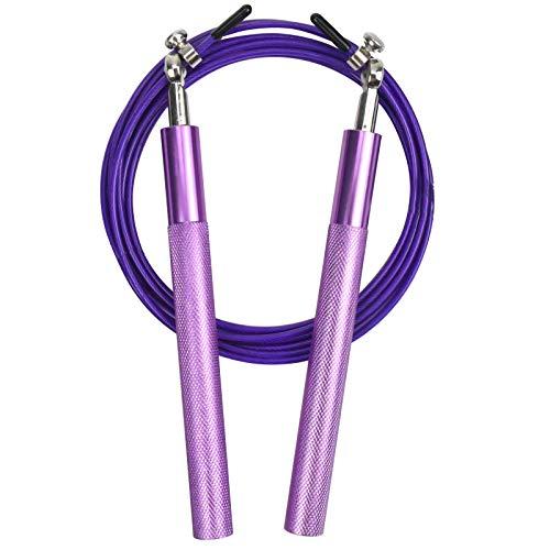 Chstarina Cuerda para Saltar, cuerda saltar crossfit con Ajustable Asa Antideslizante, Comba de Boxeo Speed Rope para Hombre y Mujer, para Fitness Boxeo HIIT (púrpura)
