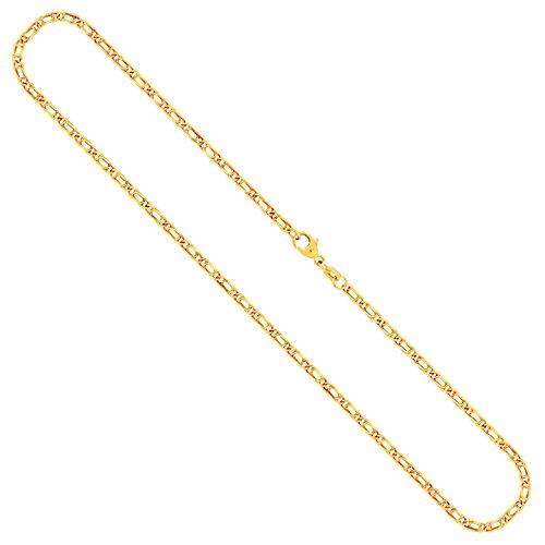 Goldkette, Tigeraugenkette hohl Gelbgold 333/8 K, Länge 50 cm, Breite 2.5 mm, Gewicht ca. 2.9 g, NEU