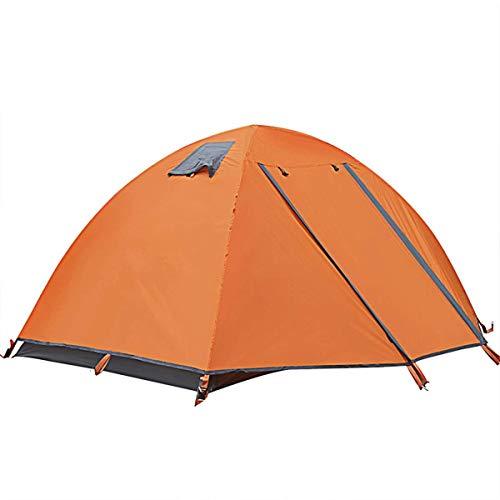 Wandern Camping-Zelt, Zelt Wasserdichtes 2 Personen Doppeltür Professionelle Wind- und Anti-Sturm Camping Camping-Zelt im Freien Super Light Doppel Aluminium Polen anybz (Color : Orange)