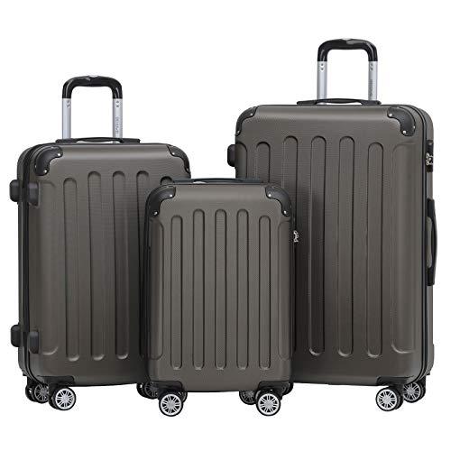 BEIBYE 2045 Zwillingsrollen 3tlg. Reisekoffer Koffer Kofferset Trolleys Hartschale in 14 Farben (Coffee)