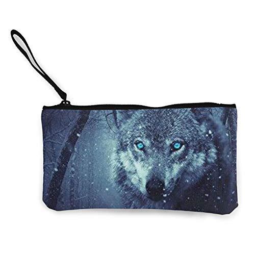 Moneda de lona, bolso de lobo de nieve ártico con cremallera, bolsa de cosméticos de viaje multifunción, bolsa de maquillaje para teléfono móvil, paquete de lápices con asa
