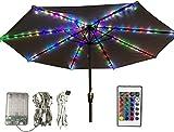 Guirlande lumineuse pour parasol, parasol, lumières avec télécommande et minuterie, 4 modes, 112 LED pour parasol, tente de camping, décoration d'extérieur