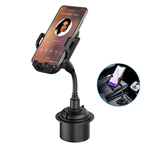 Car Cup Holder Phone Mount, Adjustable Gooseneck Cupholder Cell Phone Cradle with 360° Rotatable Holder, Compatible with Most Smart Phones