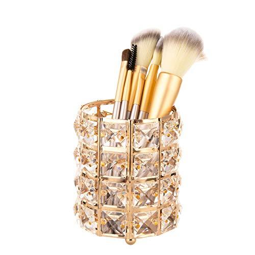 BSTCAR Kristall Make-Up Pinselhalter, Golden Kosmetikorganiser Kosmetische Speicherorganisator Eimer Lippenstift Augenbrauenstift Stift Container Kommode Desktop Werkzeug