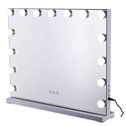 Lighted Trifold Mirror USB Rechargeable Led Lighted Vanity Mirror with 15 Led Lights Touch-Screen Light Control Best Gift for Girl Mom