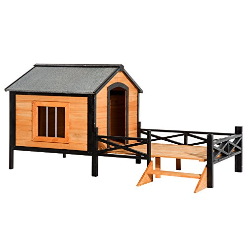 "PawHut 67"" Large Wooden Cabin Style Elevated Outdoor Dog House with Porch"