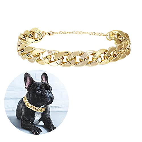 Gold Chain Dog Necklace, Fashion Cool Puppy Neck Collar Chain, Cute Plastic Pet Necklace Jewelry Accessories for Small Medium Teddy French Bulldog