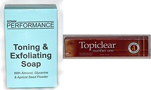 Lait éclaircissant de la peau (50 g) Topiclear numéro un (UE) et savon Sonik gratuit (200 g)