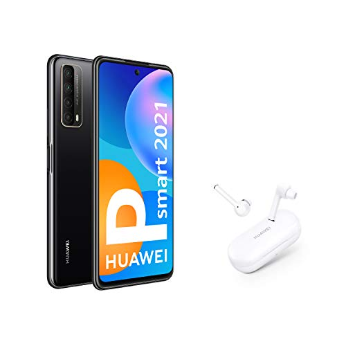 HUAWEI P smart 2021 + FreeBuds 3i - Smartphone con pantalla de 6,67 pulgadas Full HD, 4GB de RAM y 128 GB de ROM, 22.5W HUAWEI SuperCharge, 5000 mAh de batería, Cuádruple c&aacu