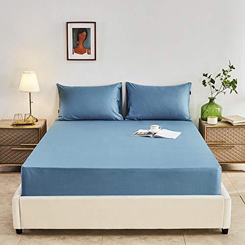 DSman Colchón Antiácaros de Espuma de para Cama Microfibra Sábana de algodón Puro Color Puro de una Sola Pieza-Azul_150 * 200cm