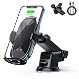 Wireless Car Charger Mount Auto-Clamping - FLYAMAPIRIT 10W Qi Fast Charging Air Vent Car Phone Holder Compatible with iPhone 12/pro max/Samsung S20/Note 20 All 4.7-6.7 Inch Phone (Silver)