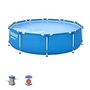 Bestway 56679 | Steel Pro – Piscina exterior redonda, 305 x 76 cm, bomba de filtración incluida