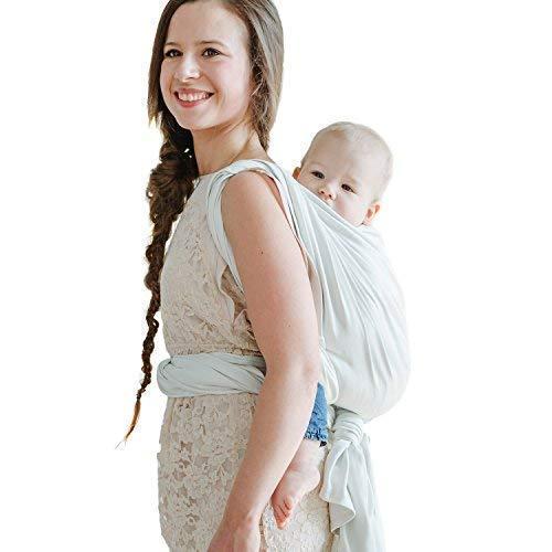 Shabany® Babytragetuch - 100% Bio Baumwolle - Babybauchtrage für Neugeborene Kleinkinder bis 15 Kg - Gewebt - inkl. Baby Wrap Carrier Anleitung - weiß (sleeps)