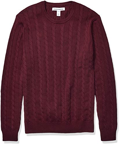 Amazon Essentials Men's Crewneck Cable Cotton Sweater, Burgundy, Medium