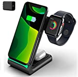Wireless Charger 3 in 1 Wireless Charging Station Fast Qi Certified Nightstand Charging Dock for Apple Watch SE 6 5 4 3 2,AirPods Pro/2,iPhone 12 11 Pro Max Xs X Xr 8 (with QC Adapter)
