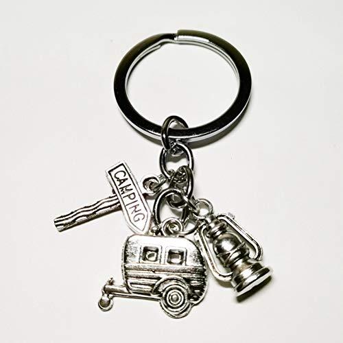 N/ A modesieraad mini Happy camping lantaarn sleutelhanger, kilt pin, verkeersbord, autosleutelhanger zilver DIY handgemaakt