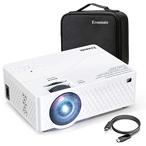 Erosmate Mini Projector,2020 Upgraded Portable Video Projector, 1080P Supported Movie Projector with 30000Hrs LED Lamp Life,Compatible with TV Stick, Video Games, HDMI,USB,TF,VGA,AV