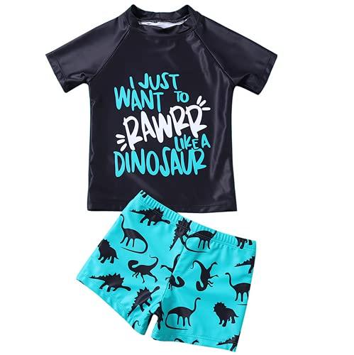 Bañador para Niños Pequeños 2 Piezas Traje de Natación Verano Camiseta de Manga Corta Pantalones Cortos Ropa de Baño con Estampado de Dibujos Animados (Negro, 2-3 Años)