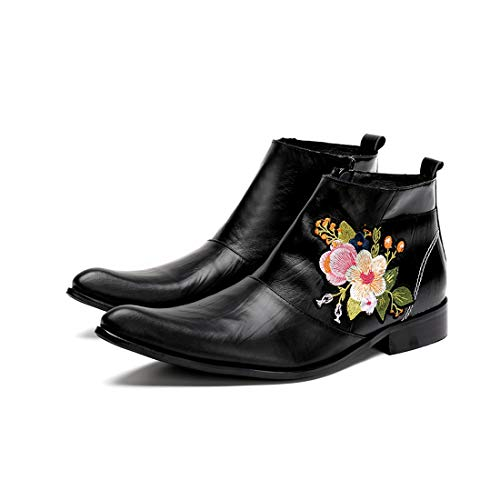 GIYL Mens Cowboylaarzen, spitse leren schoenen, Martin laarzen, casual leer Cowboy Zipper Boot, voor nachtclub schoenen, 41