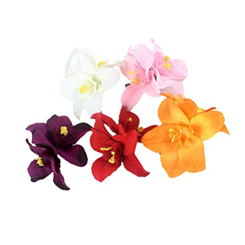 PRETYZOOM Flor Artificial Pinza de Pelo Hibisco Hawaiano Plumeria Horquilla Flor de Orquídea Tocado Horquillas Sombreros para Mujer Niña Dama Niños 5 Piezas (Color Aleatorio)