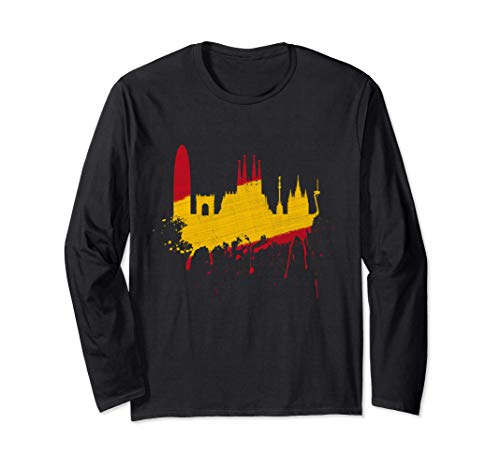 Barcelona Skyline Spanien Flagge Fahne Liebe Sagrada Familia Langarmshirt