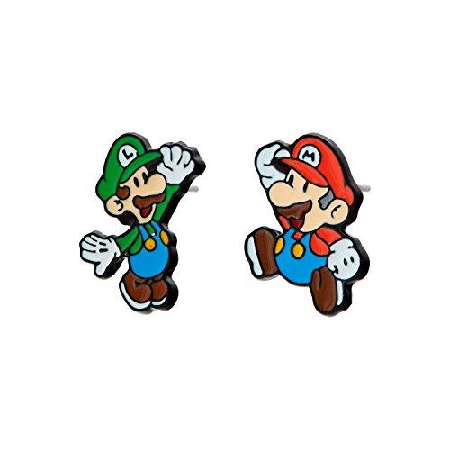 Pendientes Selia con motivo Mario Luigi Play /Pendientes de Botón Origami / Estilo Minimalista