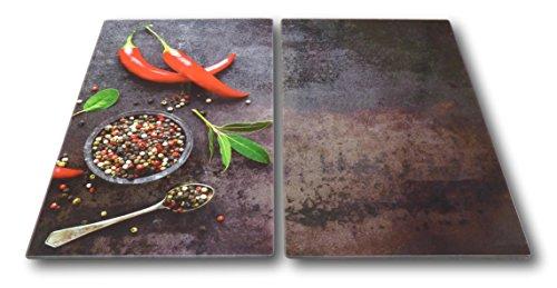2 x Glas Herdabdeckplatte Herdabdeckung Schneidebrett Abdeckplatte Ceranfeld Design hot Chili