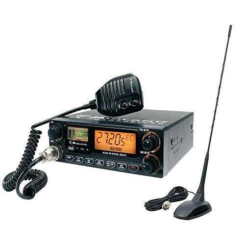Midland Paquete Radio CB Alan 48 Excel 4W, 12V, 40 Canales + Antena 48 PNI Extra con imán, 45 cm, 26-30MHz