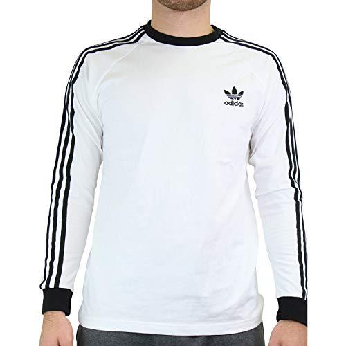 adidas GN3477 3-Stripes LS T Long Sleeved t-Shirt Mens White M
