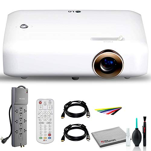 LG PH550 CineBeam 550-Lumen 720p LED Projector With HDMI Cable, Wire straps, Surge Protector, Cleaning set and More