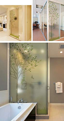 YSHUO raamstickers raamfolie statisch glas film badkamer scrub stickers zon scherm film groene boom film op het raam
