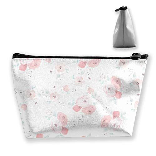 Flores Bolsa de Maquillaje de Escritorio Bolsa de Viaje de Almacenamiento Trapezoidal Grande Bolsa de cosméticos para Lavar Estuche para lápices Cremallera Impermeable