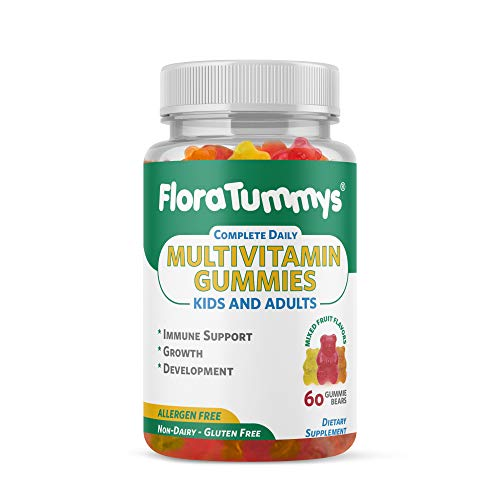 MultiVitamin Gummies Allergen Free FloraTummys Complete Daily: Kids & Adults. 60 Mixed Fruit Gummy Bears.