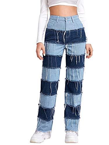 Pantalones vaqueros de patchwork para mujer, pantalones de retazos de cintura alta y pierna recta estilo Y2k