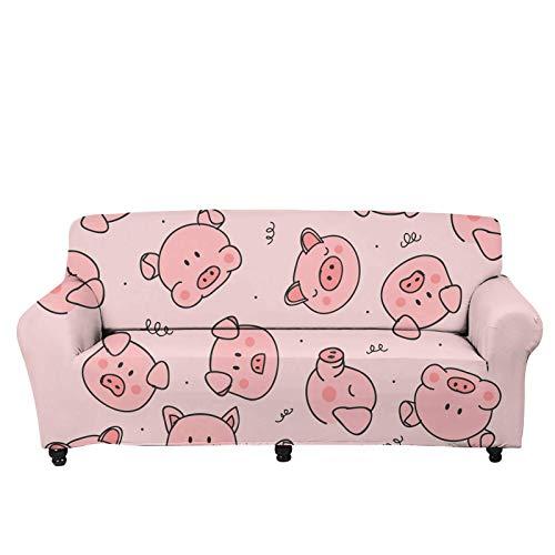 JBNJV Funda de sofá Moderna para decoración del hogar, Funda de sofá, diseño de Cerdo, Fundas de cojín para sofá, Fundas elásticas para sofá, Protector de Muebles, Rosa