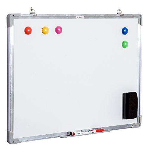 HOMCOM Pizarra magnetica blanca de 60 x 45cm con 10 imanes + 1 borrador + 4 rotuladores