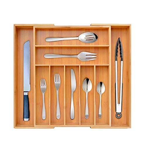 Cubertero De Bambú Para Los Cajones De La Cocina (45 X 35-49 X 6 Cm), 7-9 Compartimentos Y Extensión Variable, Como Cubertero U Organizador De La Cocina
