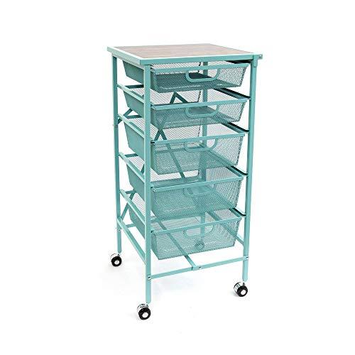 Origami Wheeled Foldable 5 Steel Mesh Drawer Storage Caddy Cart, Turquoise