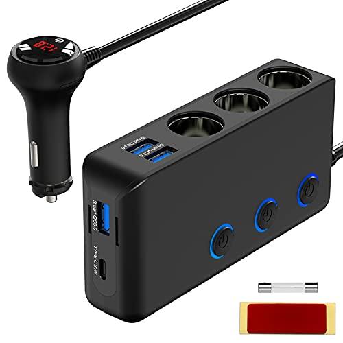 2021 Più recenteQuick Charge 3.0 e USB C 20W Sdoppiatore Accendisigari, Qidoe 200W 12V 24V Splitter per Presa CC di Alimentazione per Auto con 3 Prese 4 Porte e Interruttore di Voltmetro LED