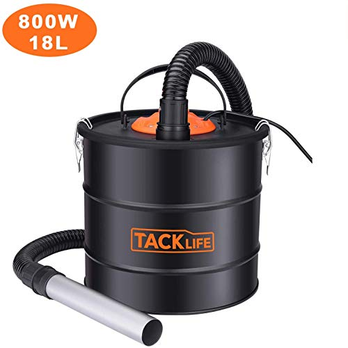 TACKILE Ash Vacuum Cleaner,18L 800W Powerful Ash Suction,Bagless Debris/Dust/Ash Collector, Ash Collector for Fireplaces, Grills, Ash Collector for Fire, Log Burners, Stoves, Grills-PVC03A
