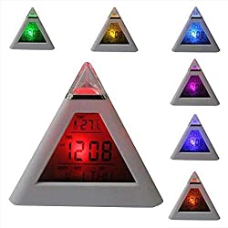 Kids Digital Alarm Clock, Colorful Luminous Color Changing, Creative Simple Triangle Decompression Alarm Clock with Temperature Calendar