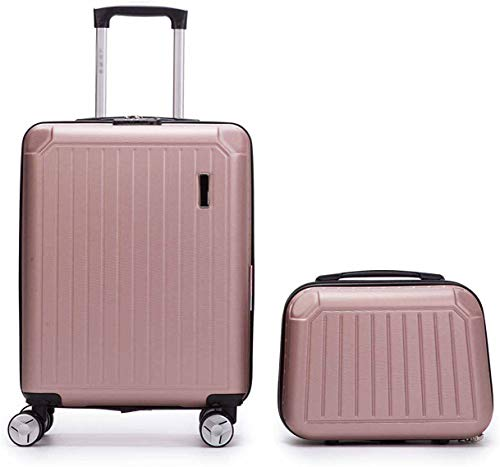 2 Sets of Guests handbox 55 cm Cosmetic Box 35 cm Rigid 8 Rounds 2 Pieces of Cabin Suitcase Plane,Rose