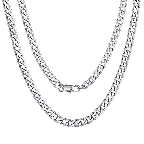 ChainsPro Panzerkette Herren Klassische Königskette Herren 4 mm Breit Halskette ohne Anhänger Kubanische Kette Panzerkette Schmuck 24 Zoll in Silber für Herren/Männer