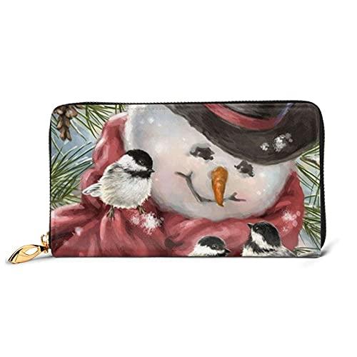 HUBGFEQ Leather Wallet,Snowman and Bird Print Wallet Genuine Leather Card Holder Phone Checkbook Organizer Zipper Coin Purse,Unisex