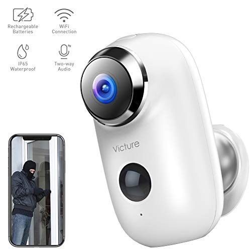 Victure 1080P Outdoor Security Camera Home Wireless Rechargeable Battery Powered WiFi Camera with PIR Motion Detection Night Vision 2-Way Audio and IP65 Waterproof Cameras Surveillance