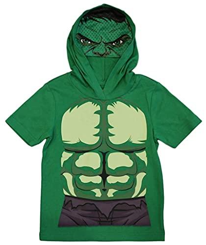 Marvel Avengers Little Boys' Toddler Hulk Hooded Tee with Mask (4T) Green