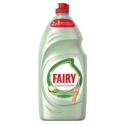 Fairy Limpieza y Cuidado aloe vera y pepino, lavavajillas líquido con protección de la dermis beneficia la piel y combate la grasa, 1015 ml