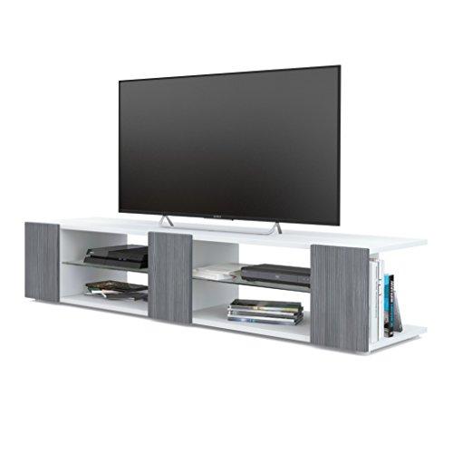 Mesa para TV Lowboard Movie V2, Cuerpo en Blanco Mate/Frentes en avola Antracita