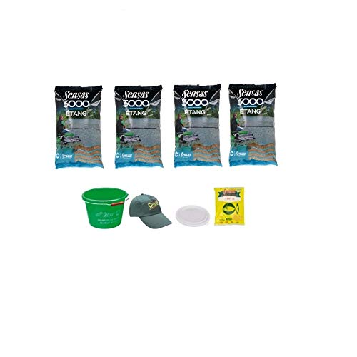 Sensas Futter-Set 3000 Etang Stillwasser 4x1kg + Eimer 15l + Lockstoff + Mütze